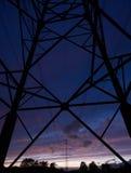 Опора линии электропередач на ноче Стоковое фото RF