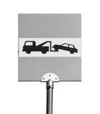 Опорожнение на эвакуаторе изолированная белизна дорожного знака стоковое фото rf