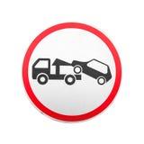 Опорожнение на эвакуаторе Круглый изолированный дорожный знак стоковая фотография rf