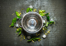 Опорожните бак с листьев, льда и лимона пылом вокруг Стоковые Фото