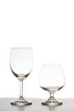 Опорожните 2 бокала на белой предпосылке Стоковое Фото