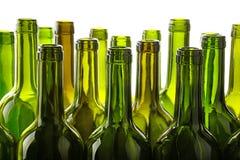 Опорожните бутылки вина зеленого стекла изолированные на белизне Стоковая Фотография RF