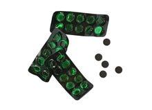 Опорожните зеленые изолированные коробки пилюльки и черные пилюльки, Стоковые Фотографии RF