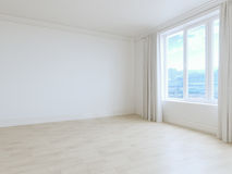 Опорожните интерьер белой комнаты с белыми деревянными полами Стоковая Фотография RF