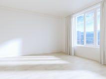 Опорожните интерьер белой комнаты с белыми деревянными полами Стоковое фото RF