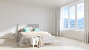 Опорожните интерьер белой комнаты с кроватью, белыми деревянными полами Стоковое фото RF