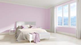 Опорожните интерьер белой комнаты с кроватью, белыми деревянными полами Стоковые Изображения