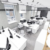 Опорожните место работы современного офиса внутреннее вверх по взгляду Стоковые Изображения RF