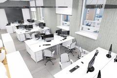 Опорожните место работы современного офиса внутреннее вверх по взгляду Стоковые Фото