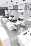 Опорожните место работы современного офиса внутреннее вверх по взгляду Стоковая Фотография