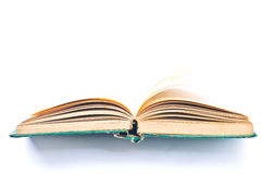 Опорожните открытую старую книгу на белой предпосылке Стоковые Фото