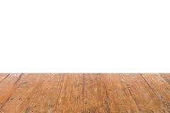 Опорожните старый деревянный стол для размещения продукта или монтаж на белой предпосылке Скопируйте космос для текста стоковое фото rf
