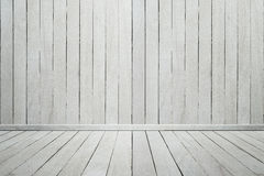 Опорожните стену и пол внутренней деревянной комнаты белую деревянную стоковая фотография