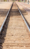 Опорожните следы поезда на депо Стоковые Фото
