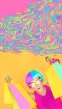 дополнительная предпосылка голубые бабочки консервирует измененное солнце лета неба сбывания формы флагов яркое Девушка и шальные Стоковые Фотографии RF