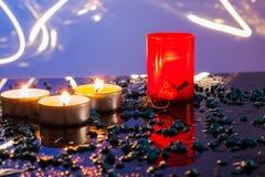 Определите освещенные свечи Миражирует Новый Год Стоковая Фотография