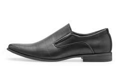 Определите классических черных кожаных ботинок для людей, без шнурков Стоковые Изображения