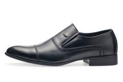 Определите классических черных кожаных ботинок для людей, без шнурков Стоковая Фотография