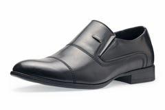 Определите классических черных кожаных ботинок для людей, без шнурков Стоковое Изображение RF