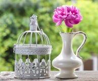 Определите розовый цветок пиона в белой керамической вазе стоковая фотография rf