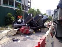 Опрокинутый автомобиль стоковая фотография rf