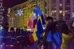 Опротестуйте против законов правосудия в Бухаресте Стоковое фото RF