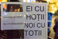 Опротестуйте против законов правосудия в Бухаресте Стоковое Изображение RF