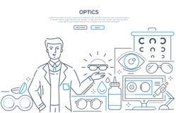 Оптика - современная линия знамя сети стиля дизайна иллюстрация штока