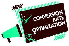 Оптимизирование конверсионного курса текста сочинительства слова Концепция дела для системы для увеличивая процента loudsp мегафо Стоковое Изображение
