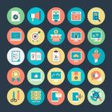 Оптимизирование маркетинга и сети интернета Vector значки 4 Стоковые Фото