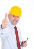 Оптимистический работник в желтом шлеме Стоковое Изображение RF