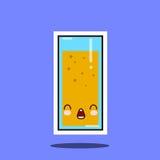 Оптимистический стекло стороны характера kawaii сока милой Стоковое Изображение