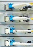 Оптические кабели волокна соединенные к центру данных Стоковое Фото