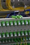 Оптический кабель волокна и соединять волокна на подносе специи стоковая фотография rf