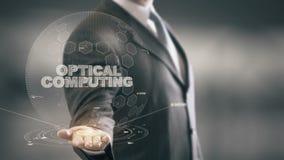 Оптически вычислять с концепцией бизнесмена hologram сток-видео