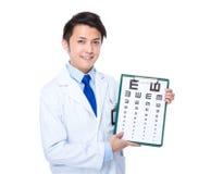 Оптически владение доктора с диаграммой глаза Стоковое Изображение RF