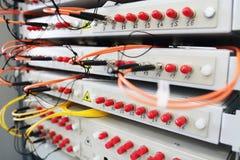 Оптическое волокно с серверами в центре данных технологии стоковые фотографии rf