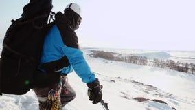 Опытный альпинист остановленный для того чтобы исследовать область и показывает вашей команде где им нужно пойти дальше, тогда он акции видеоматериалы