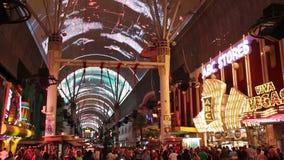 Опыт улицы Fremont в Лас-Вегас, США, 2017 видеоматериал