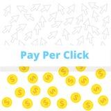 Оплата согласно с концепция щелчка - иллюстрация Курсоры и монетки на белом backgroung Стоковое фото RF