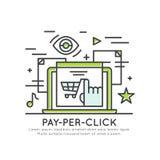 Оплата согласно с маркетинг концепции щелчка, реклама знамени, маркетинг интернета Стоковое Фото
