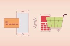 Оплата NFC с мобильным телефоном/smartphone Стоковые Изображения