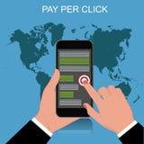 Оплатите согласно с щелчок, мобильный телефон, иллюстрация вектора Стоковые Изображения