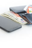 Оплаты или электронная коммерция мобильного телефона стоковая фотография rf