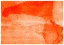 Оранжевая акварель покрасила художественную бумажную текстуру предпосылки холста стоковые изображения rf