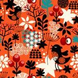 Оранжевая безшовная картина с милыми птицами петь и заводами лета иллюстрация вектора
