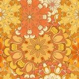 Оранжевая безшовная картина для восточных печати или украшения Японский конструированный зацветенный мотив Восточный, арабский, и Стоковое фото RF