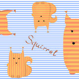 Оранжевая белка на striped предпосылке Стоковая Фотография