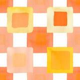 Оранжевая квадратов акварель польностью простая безшовная Стоковые Изображения