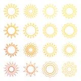 Оранжевая линия значки солнца бесплатная иллюстрация